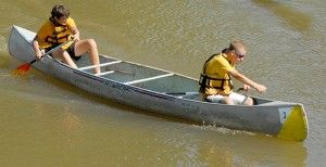 Chase Kelehan (left) and David Jenkins are pictured paddling on the Bogue Chitto Saturday. They finished runner-up in the beginners' division.