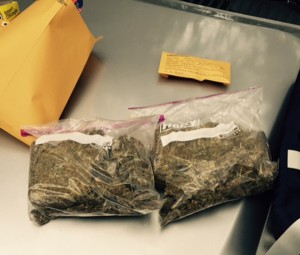 Law enforcement officials found approximately two pounds of marijuana in Etric Peterson's apartment.